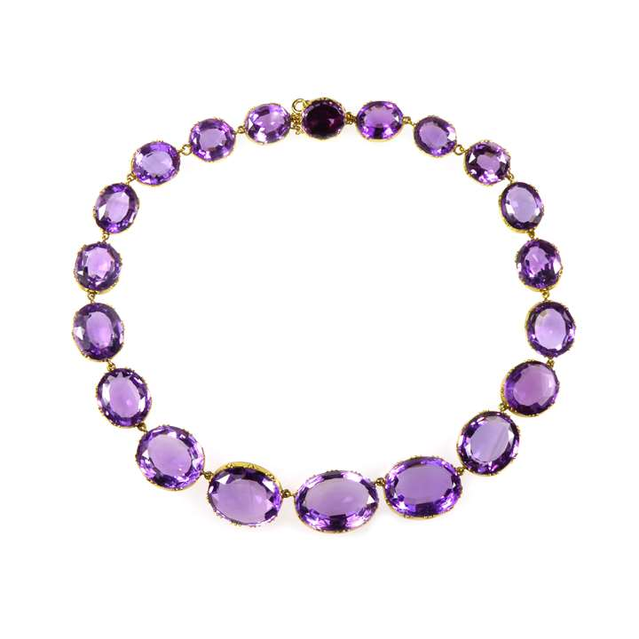 19th century graduated amethyst collet necklace