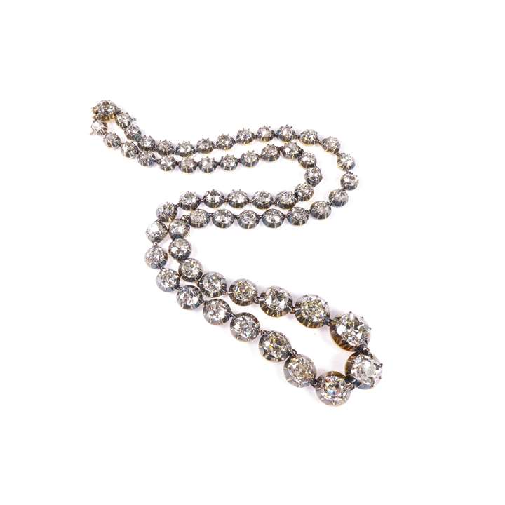 19th century graduated cushion cut diamond riviere pendant necklace