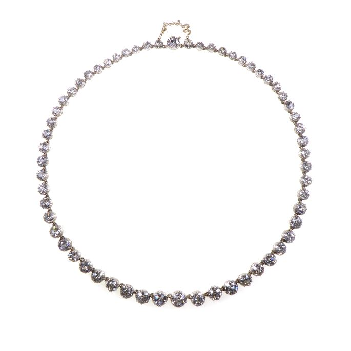 19th century graduated diamond collet necklace | MasterArt