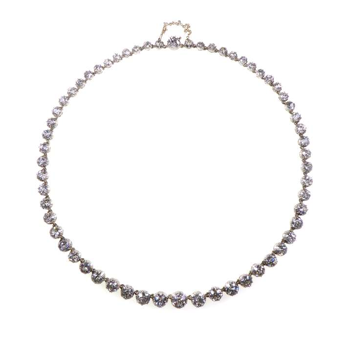 19th century graduated diamond collet necklace
