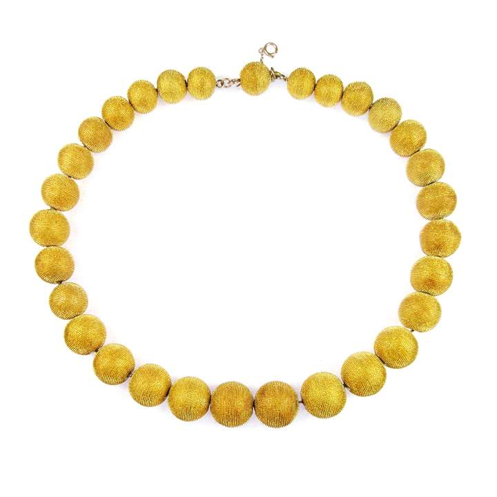 19th century graduated gold ball necklace