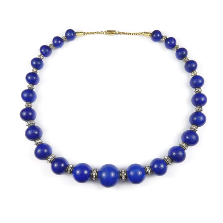19th century graduated lapis lazuli bead and diamond necklace