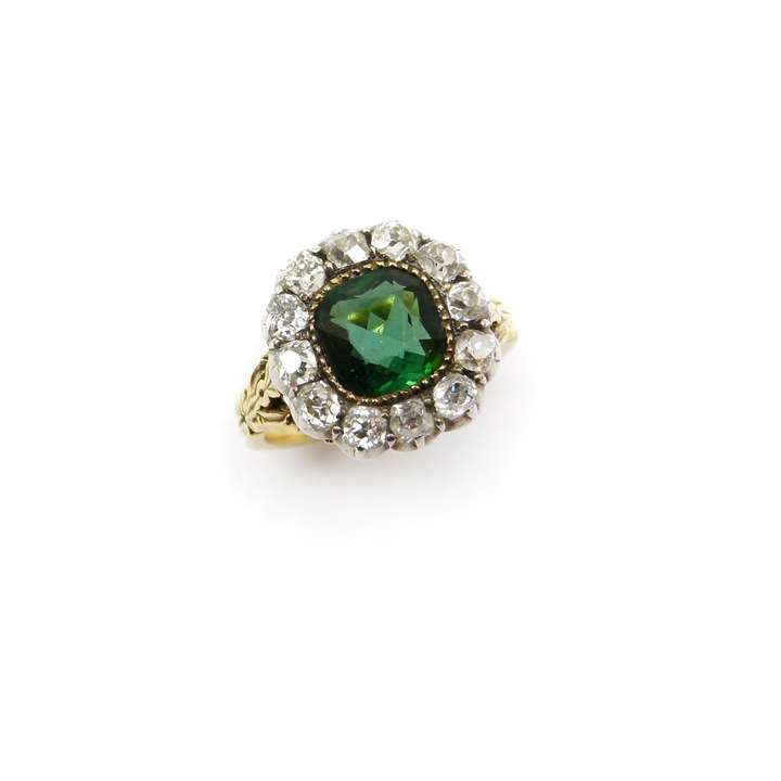 19th century green tourmaline and diamond cluster ring