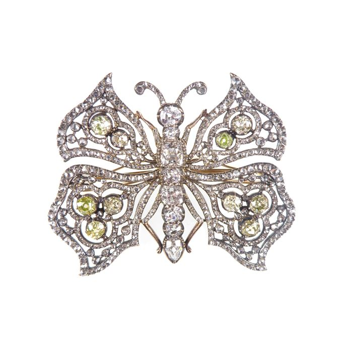 19th century openwork diamond butterfly brooch | MasterArt