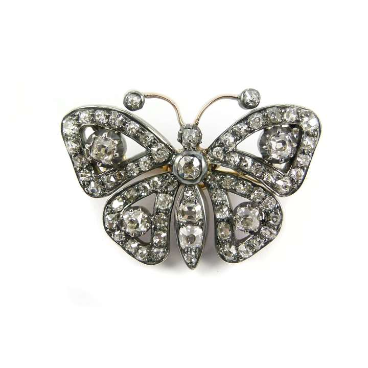 19th century openwork diamond butterfly brooch