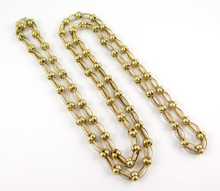 19th century openwork gold link chain necklace
