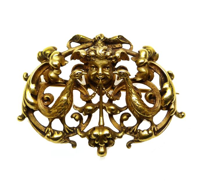 19th century openwork gold maskhead and scroll cartouche brooch by Wiese. | MasterArt