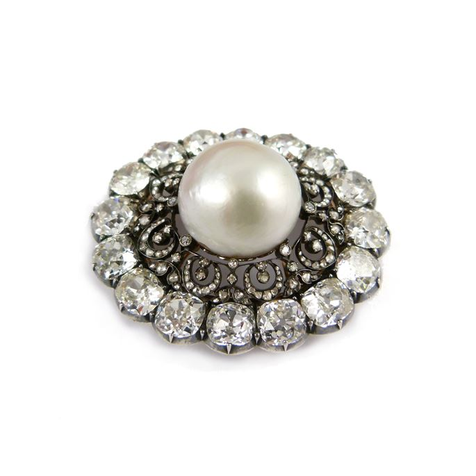 19th century pearl and diamond cluster brooch | MasterArt