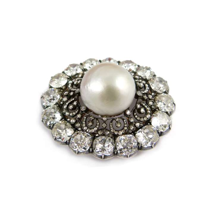 19th century pearl and diamond cluster brooch