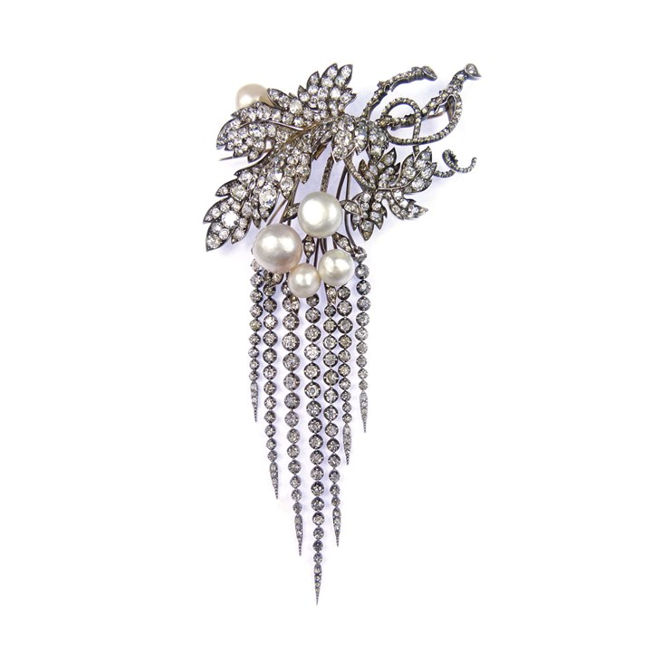 19th century pearl and diamond vineleaf and tassel pendant brooch, probably Italian, formerly House of Savoy