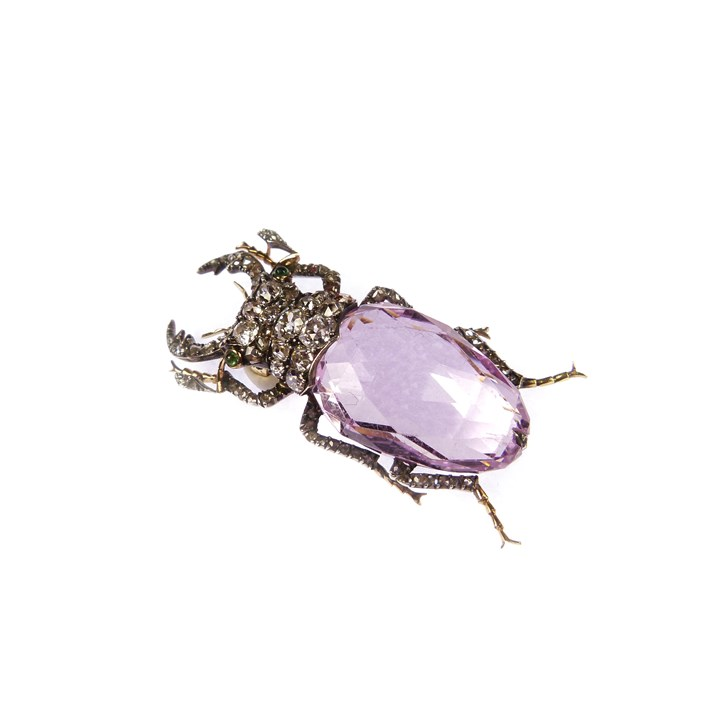 19th century pink topaz and diamond stag beetle brooch