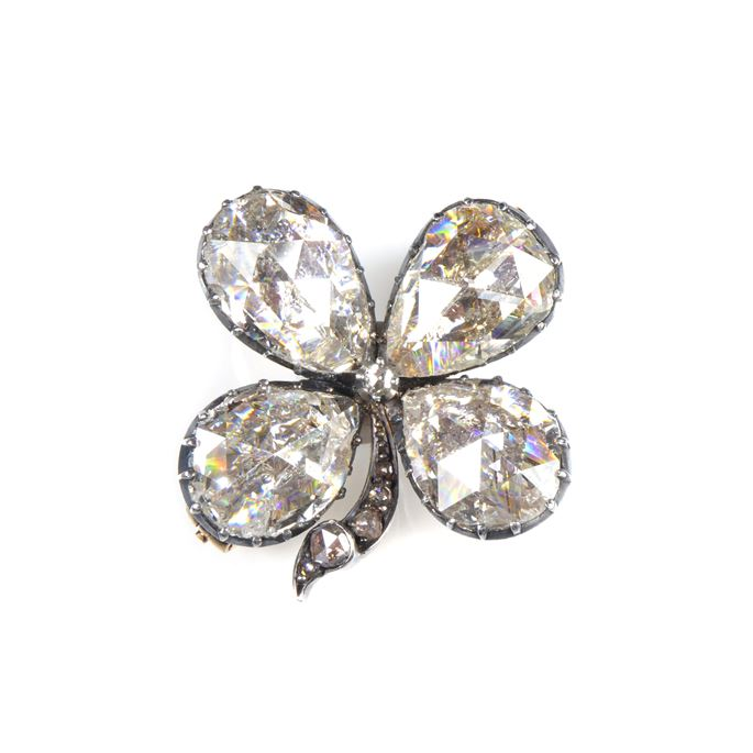 19th century rose cut diamond four leaf clover brooch | MasterArt
