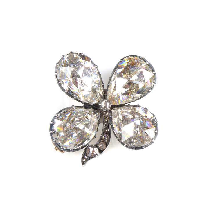19th century rose cut diamond four leaf clover brooch