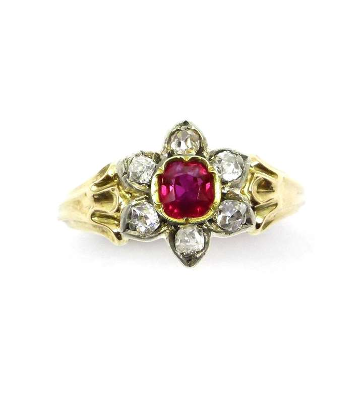 19th century ruby and diamond flowerhead cluster ring