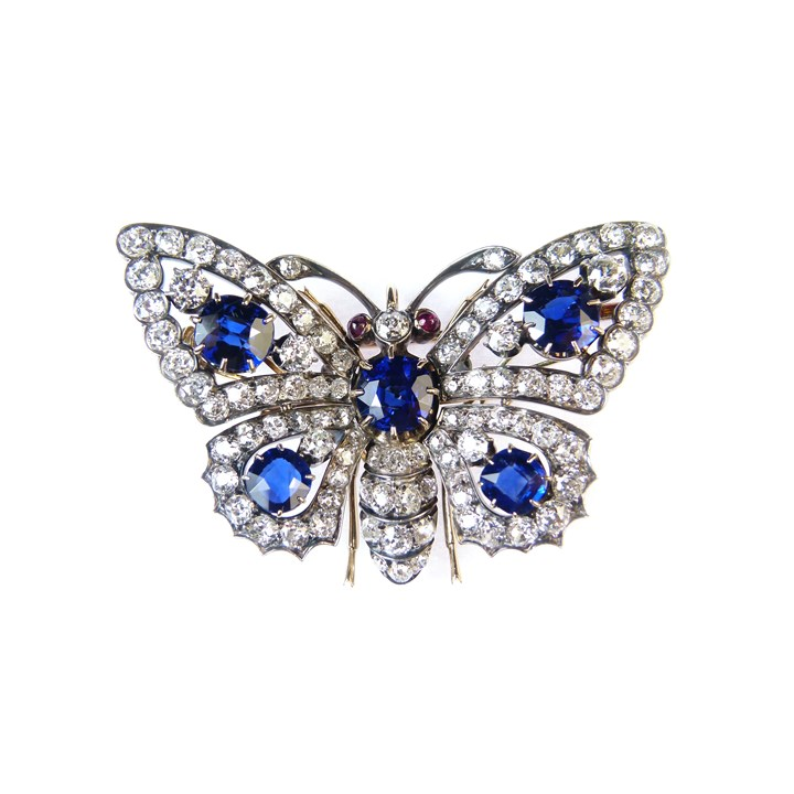 19th century sapphire and diamond butterfly brooch