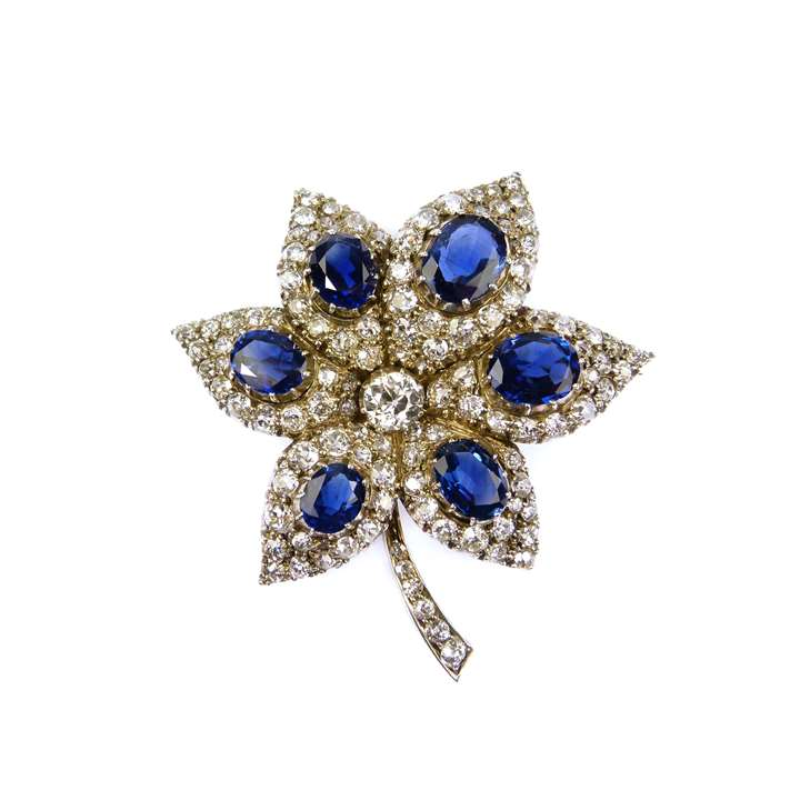 19th century sapphire and diamond flower brooch