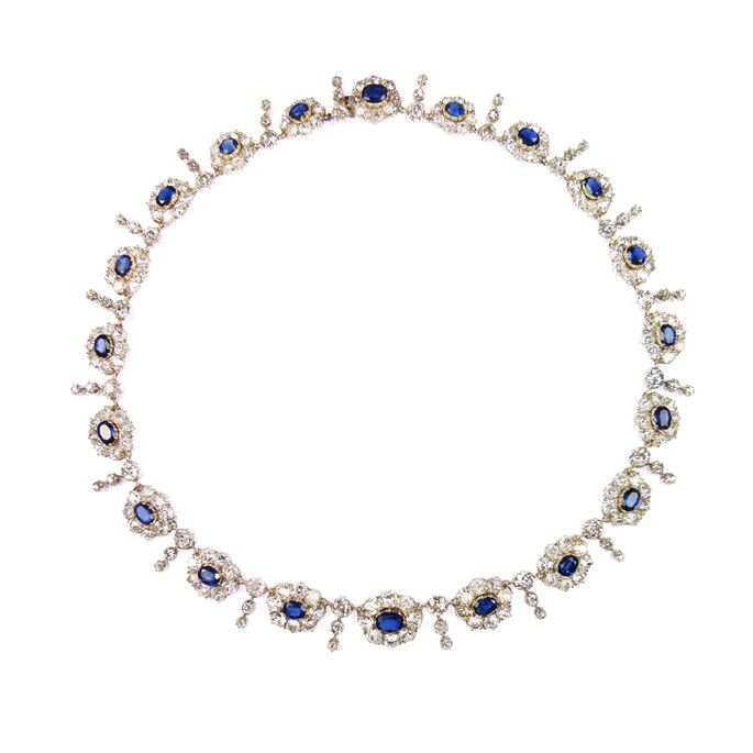 19th century sapphire and diamond graduated cluster necklace | MasterArt
