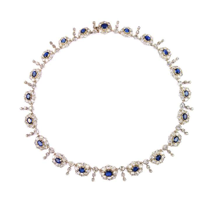 19th century sapphire and diamond graduated cluster necklace