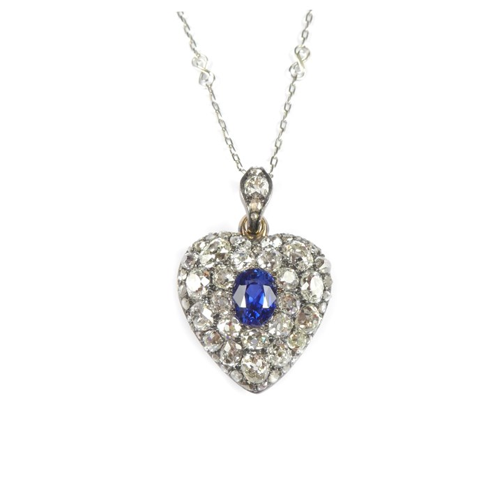 19th century sapphire and diamond heart pendant on a chain necklace