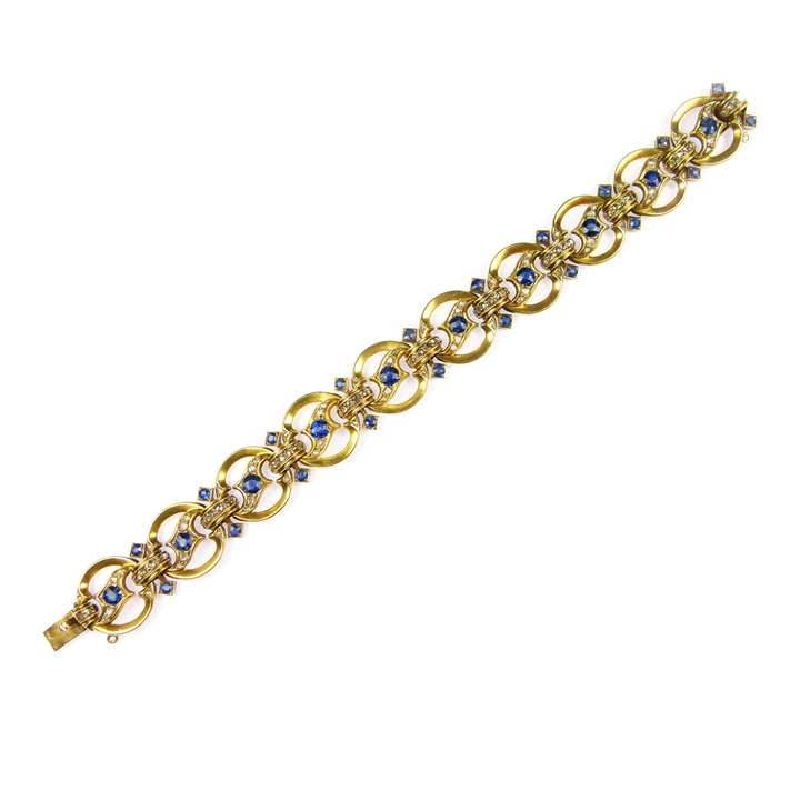 Sapphire, diamond and gold circle bracelet