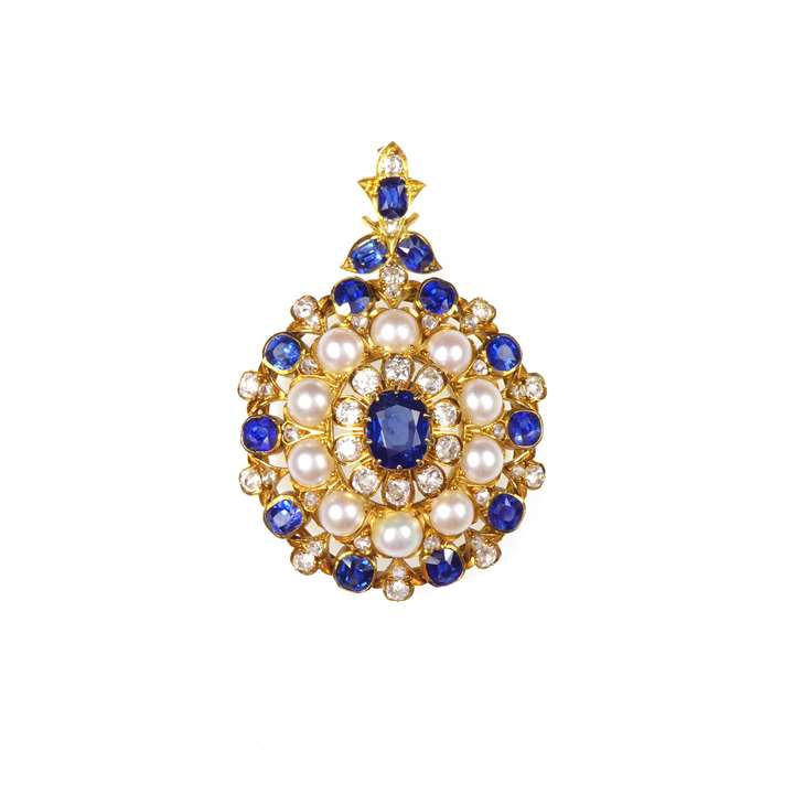 19th century sapphire, pearl and diamond target cluster pendant brooch