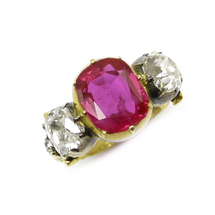 19th century three stone Burma ruby and diamond ring, centred by a 2.37ct cushion cut ruby