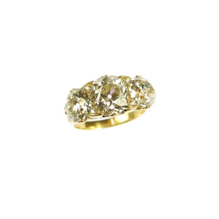 19th century three stone cushion cut diamond and gold ring