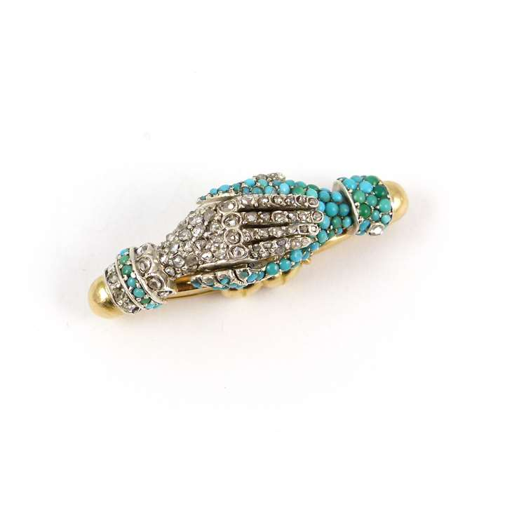 19th century turquoise and diamond cluster two-hands clasp, with fittings for a single row necklace