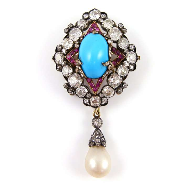 19th century turquoise, ruby, diamond and drop pearl cluster pendant brooch