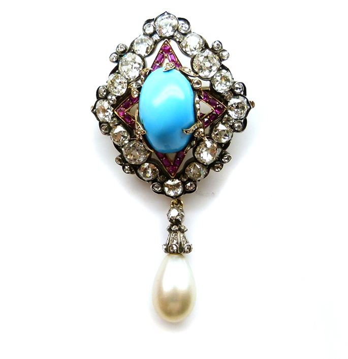 Turquoise, ruby, diamond and pearl pendant brooch | MasterArt