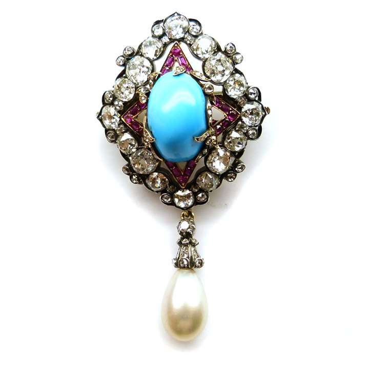 Turquoise, ruby, diamond and pearl pendant brooch
