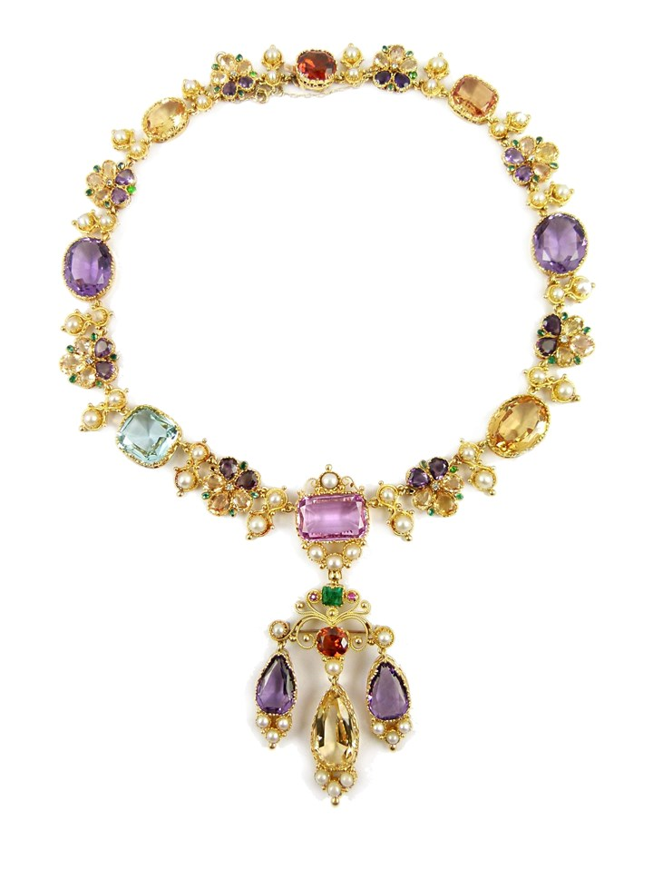 19th century vari-coloured gem, pearl and gold cluster pendant necklace