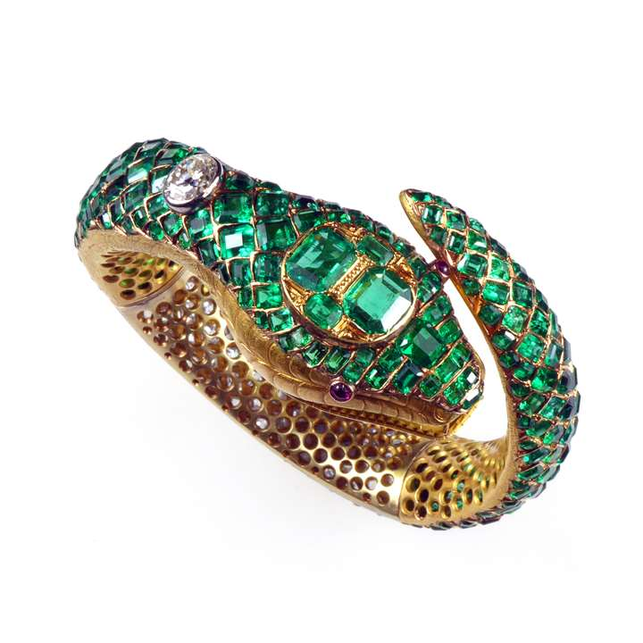 Emerald and diamond snake bangle