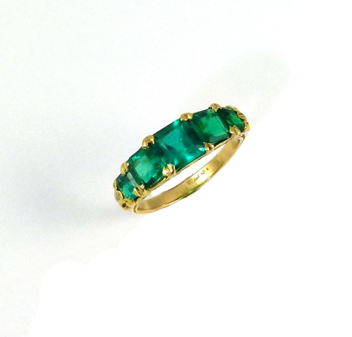 An antique emerald five stone ring. | MasterArt
