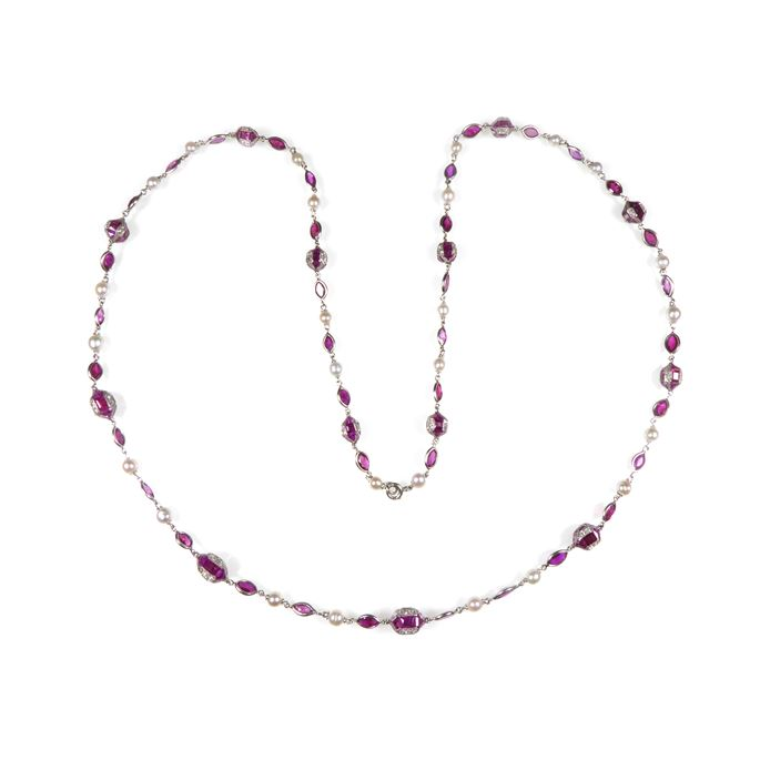 Antique ruby, pearl and diamond chain necklace | MasterArt