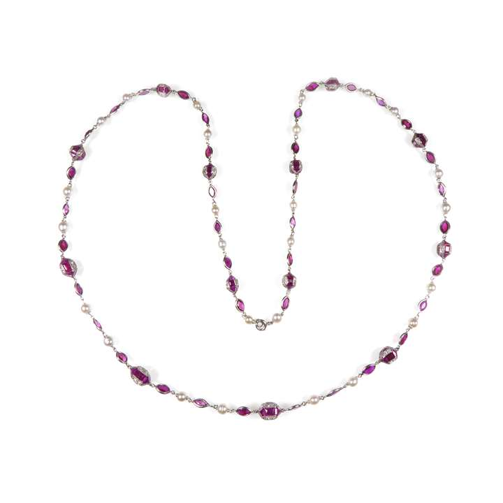 Antique ruby, pearl and diamond chain necklace