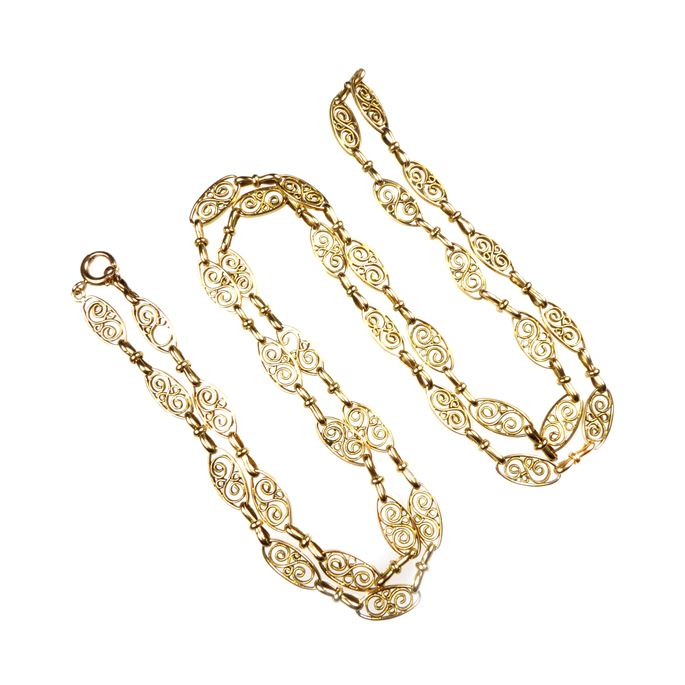 Antique 18ct gold fancy scroll link chain | MasterArt