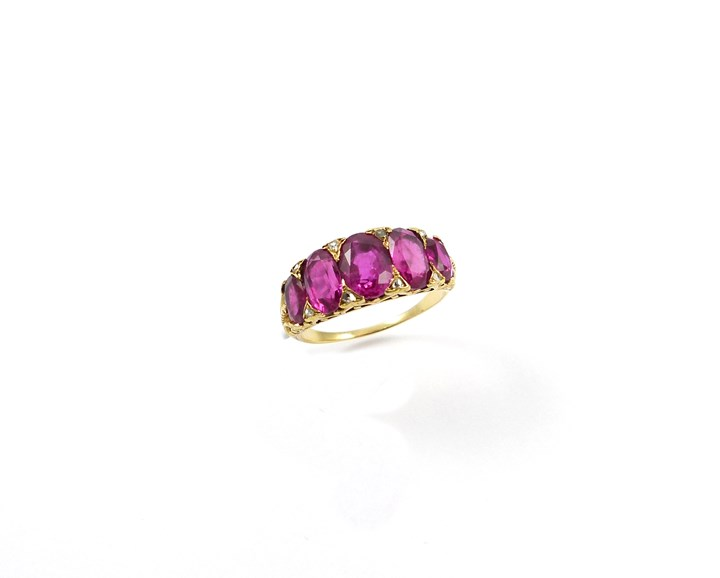 Antique 5 stone ruby carved gold half hoop ring