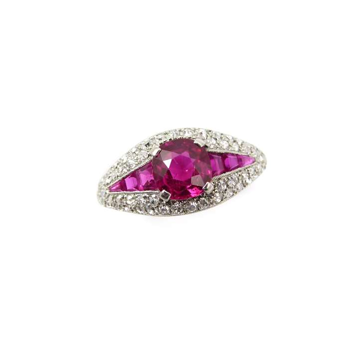 Antique Burma ruby and diamond boat shaped cluster ring
