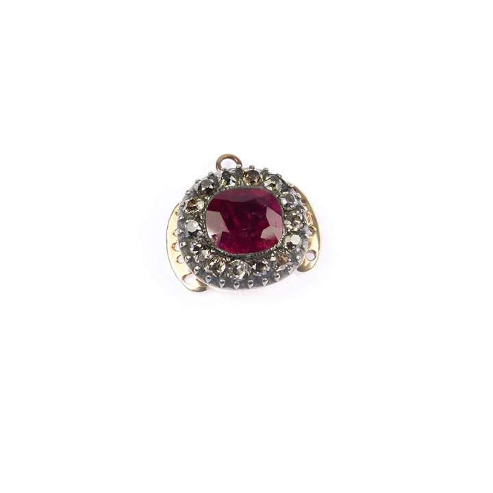 Antique Burma ruby and diamond cluster clasp