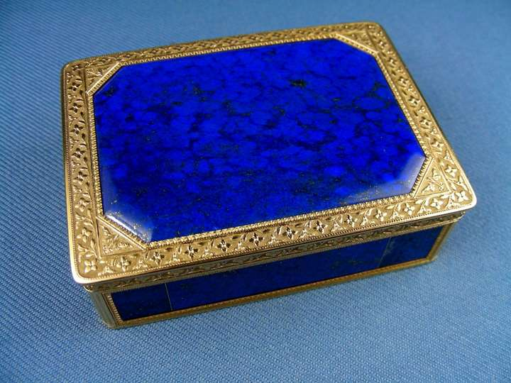 Antique French gold mounted lapis lazuli rectangular snuff box