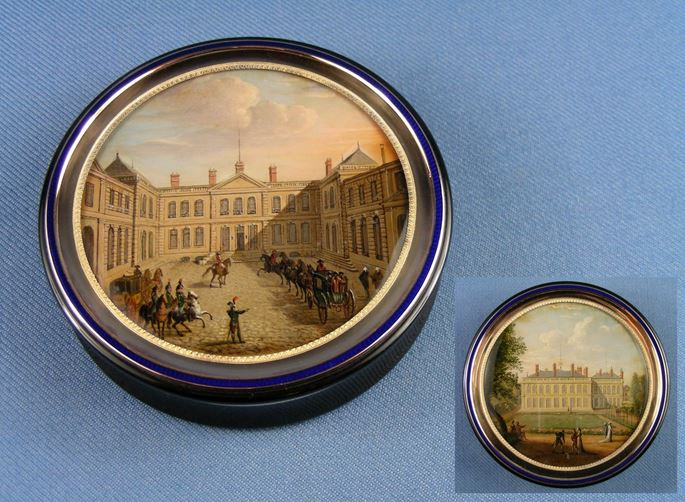Adrien-Jean-Maximilien Vachette - Antique French round gold and enamel box with verre eglomise miniatures of Napoleonic interest | MasterArt
