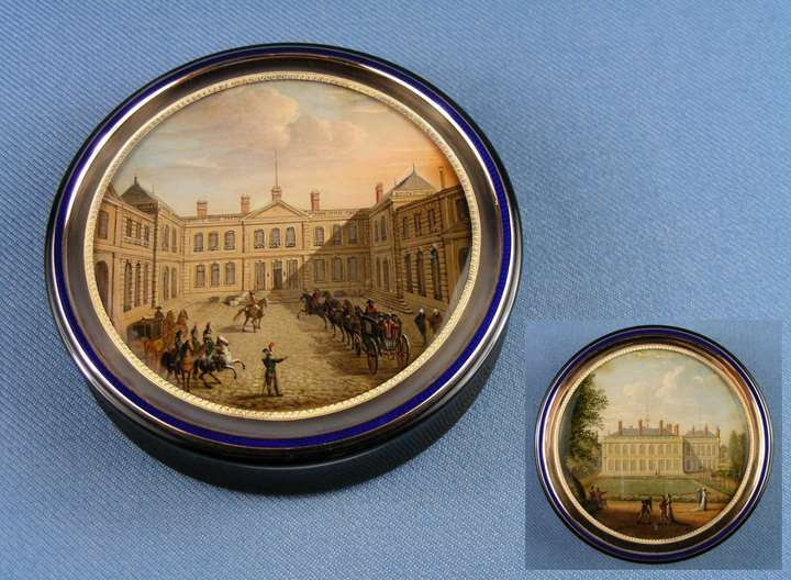 Antique French round gold and enamel box with verre eglomise miniatures of Napoleonic interest