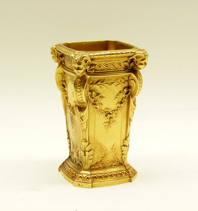 Antique French square section tapering gold vase by Boucheron | MasterArt