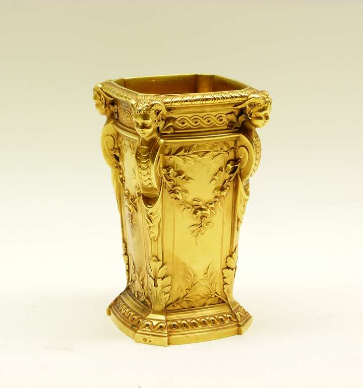 Antique French square section tapering gold vase by Boucheron