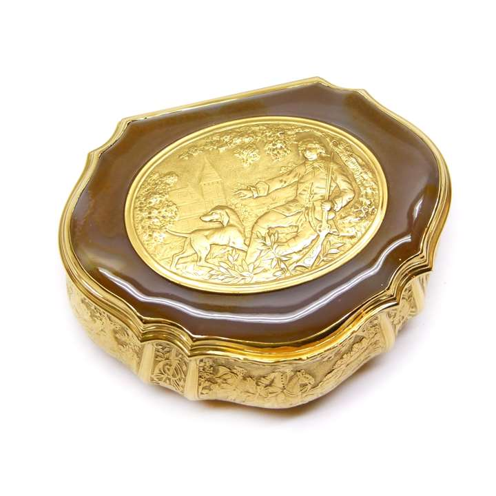 Antique German gold and agate box with hunting scenes