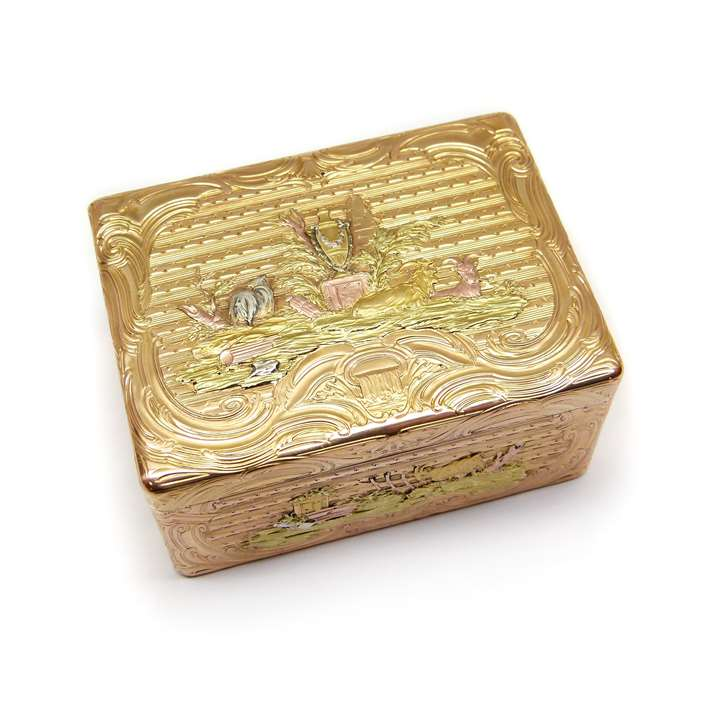 Antique German rectangular coloured gold box