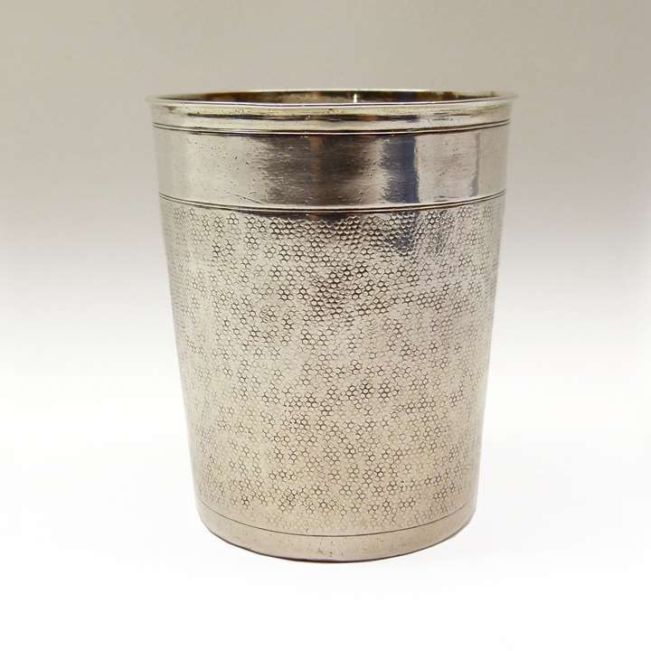 Antique German silver stipple ground beaker