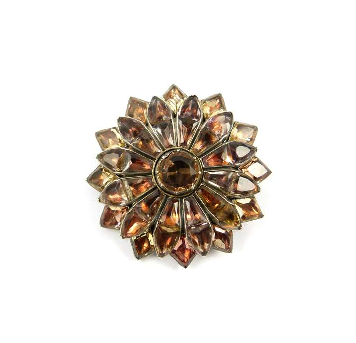 Antique Portuguese orange foiled topaz flower brooch