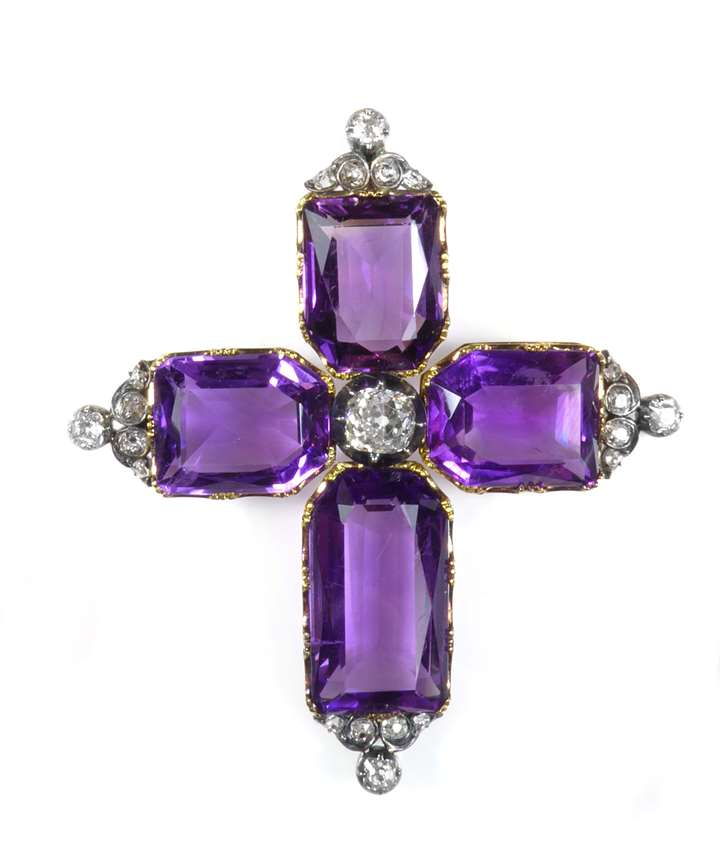 Antique amethyst and diamond cross pendant
